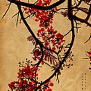 Spring Bloosom In Maldives. Flamboyant Tree I.  Japanese Style Poster