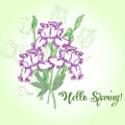 Spring Bouquet  With Three Irises.  Poster
