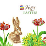 Spring Rabbit And Flowers Poster