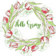 Spring  Wreath With Pink White Tulips Poster