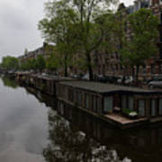 Springtime Amsterdam - Boathouses And Miniature Gardens Poster