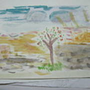 Spring.tree.sun. Water Color 1993 Poster