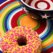 Sprinkled Donut On Circle Plate With Bowl Poster