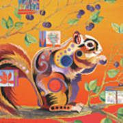 Squirrelling Away Poster by Bob Coonts