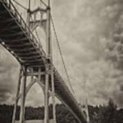 St. Johns Bridge In Black And White Poster