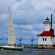 St. Joseph Lighthouse Sailboat Poster