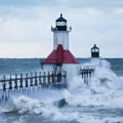 St. Joseph Lighthouse With Waves Poster