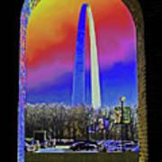 St Louis Arch Rainbow Aura  Poster