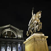 St Louis Art Museum With Statue Of Saint Louis At Night Poster