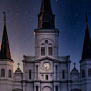 St. Louis Cathedral At Night Poster