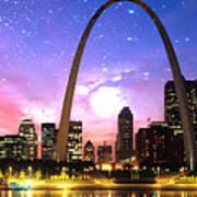St Louis Skyline As Night Falls Poster