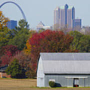St Louis Skyline From Illinois Poster