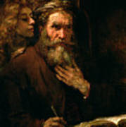 St Matthew And The Angel Poster by Rembrandt Harmensz van Rijn