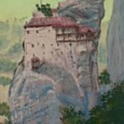 St Nicholas Anapapsas Monastery - Meteora - Greece Poster