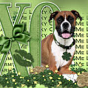St Patricks Day - My Boxer Is Me Lucky Charm Poster by Renae Laughner