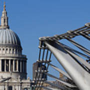 St Pauls Cathedral And The Millenium Bridge  Poster