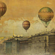 St Petersburg With Air Baloons Poster by Jeff Burgess