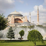 St Sophia Mosque And Fountain In Park Poster