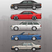 Stack Of Mercedes Benz W124 E-class Poster