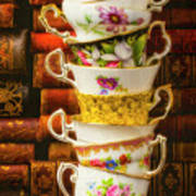 Stacked High Tea Cups Poster