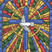 Stained Glass Cross Poster