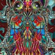 Stained Glass Owl  Poster