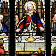 Stained Glass Window Last Supper Saint Giles Cathedral Edinburgh Scotland Poster