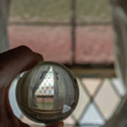 Stained Glass Window With Curtains In Crystal Ball Poster