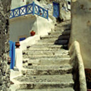 Stairway In Santorini Poster