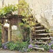 Stairway With Flowers Flavigny France Poster