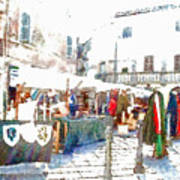 Stalls With Medieval Objects Poster