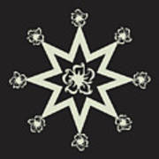 Star Flower - Ebony And Ivory Poster