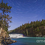 Star Trails And Moonbow Over Bow Falls Poster