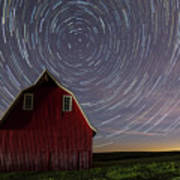 Star Trails At The Red Barn Poster