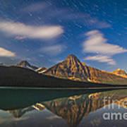Star Trails Behind Mount Chephren Poster
