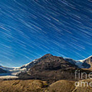 Star Trails Over Columbia Icefields Poster