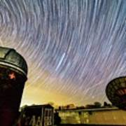Star Trails Over Custer Observatory Poster