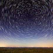 Star Trails Over Mountains Poster