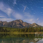 Star Trails Over Patricia Lake Poster