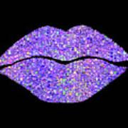 Stardust Kiss, Purple Hologram Lipstick On Pouty Lips, Fashion Art Poster