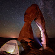 Starlight Tent Camping At Delicate Arch Poster