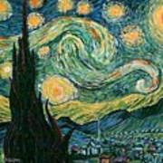 Starry Night After V. Vangogh Poster