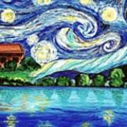 Starry Night Over The Lake Poster