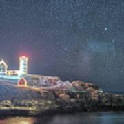 Starry Sky Of The Nubble Light In York Me Cape Neddick Poster