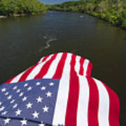 Stars And Stripes Flies Over The Delaware River Poster