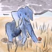 Startled Elephant Poster