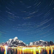 Startrails Above Reine Poster