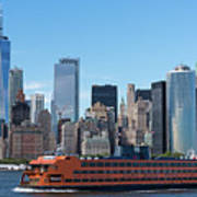 Staten Islan Ferry With Nyc Skyline Poster
