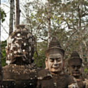 Statue Heads Ankor Thom Poster