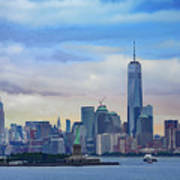 Statue Of Liberty And Manhattan Poster